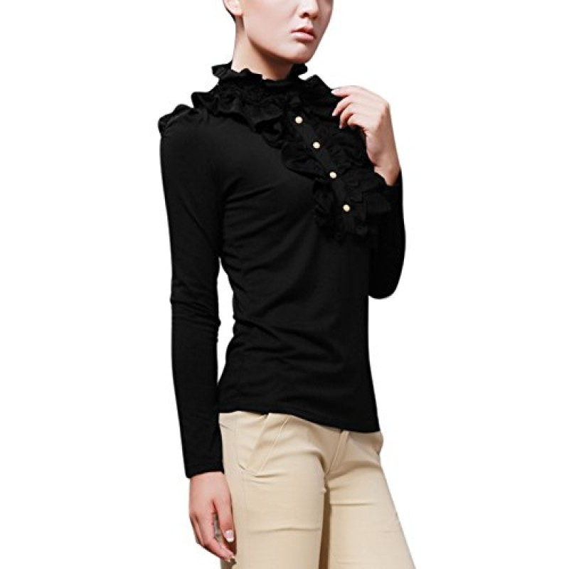 Allegra K Lady Ruffled Embellished 1/2 Placket Stand Collar Puff Sleeve Shirt, X-Large / US 18, Black