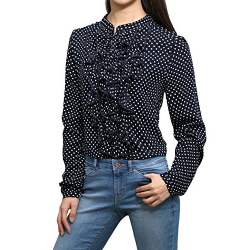 Allegra K Women's Polka Dots Prints Ruffled Front Long Sleeves Blouse Blue XL