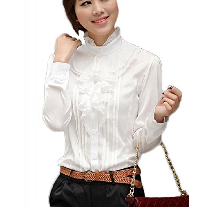 Aro Lora Women's Long Sleeve Lotus Ruffled Casual Shirt Blouse X-Large White
