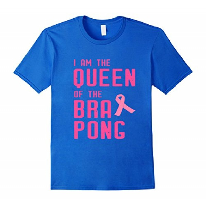 Mens Bra Pong Queen Shirt Pink Ribbon Breast Cancer Awareness 2XL Royal Blue