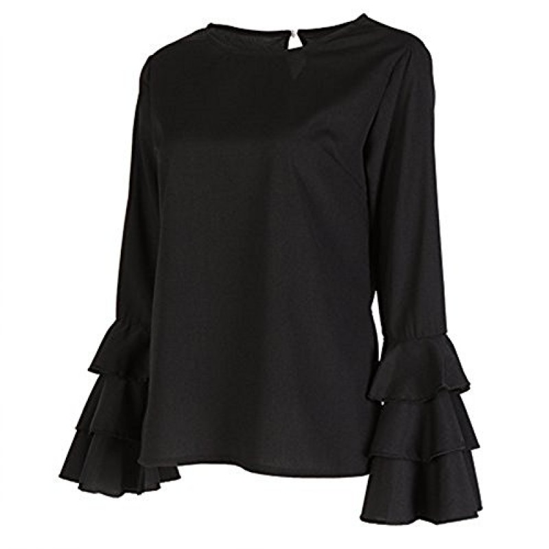 Calflint Women's Multi Layered Tiered Pleated Ruffled Long Bell Sleeve Blouse 4X-Large Size black
