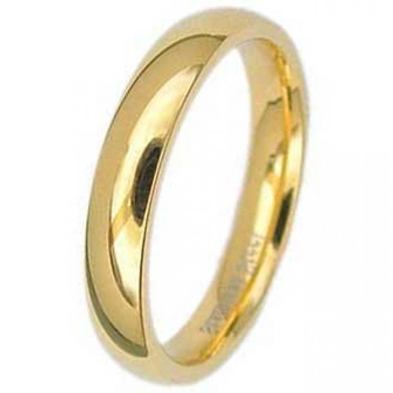 4MM High Polished Stainless Steel Gold Plated Wedding Band