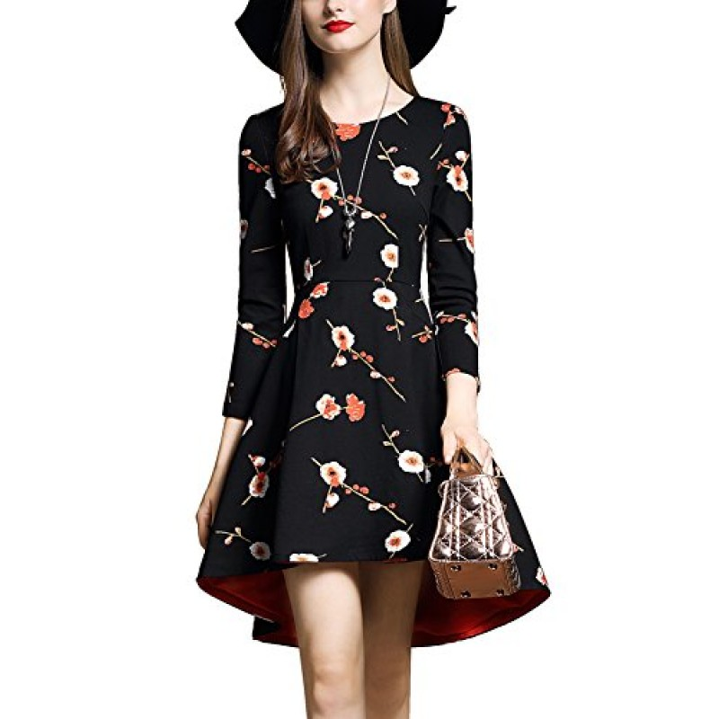 DanMunier Women's 3/4 Sleeve Floral Front Short Cocktail Party Dress Fall Winter (XS, Black)