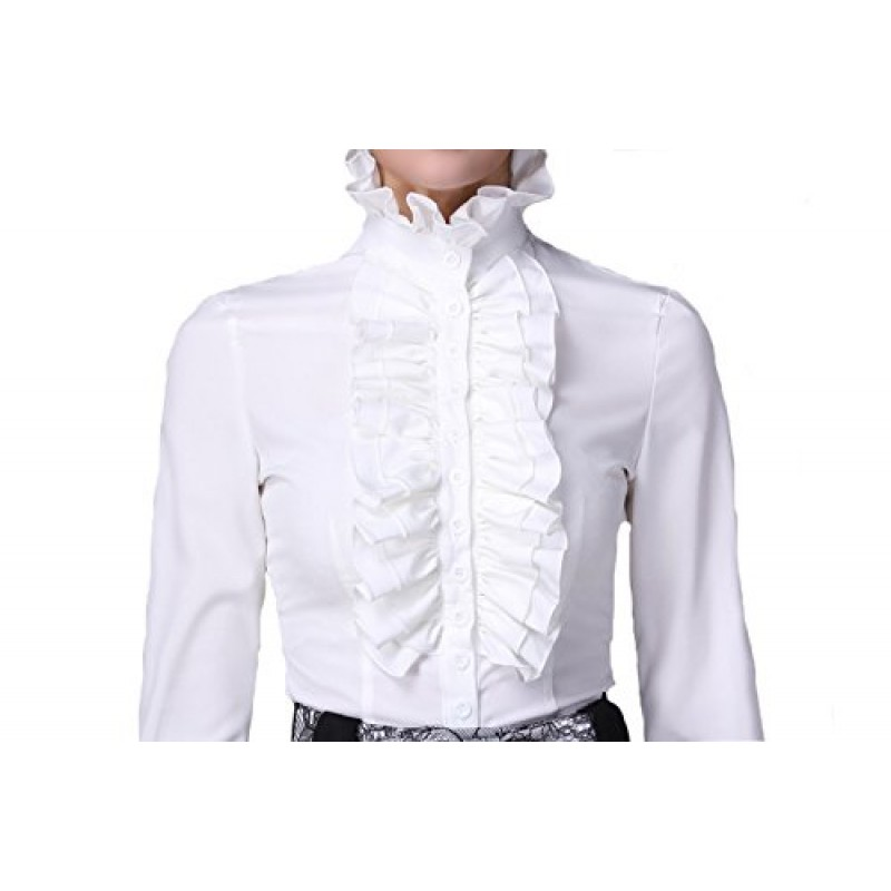 DEARCASE Women's Vintage Style Stand-up Collor Shirt Gethic Blouse White S