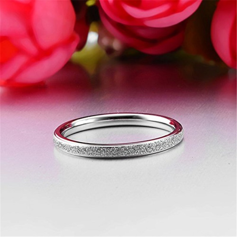 Womens 2mm Stainless Steel Sand Blast Finish Silver Wedding Band Engagement White Gold Domed Ring Size 7