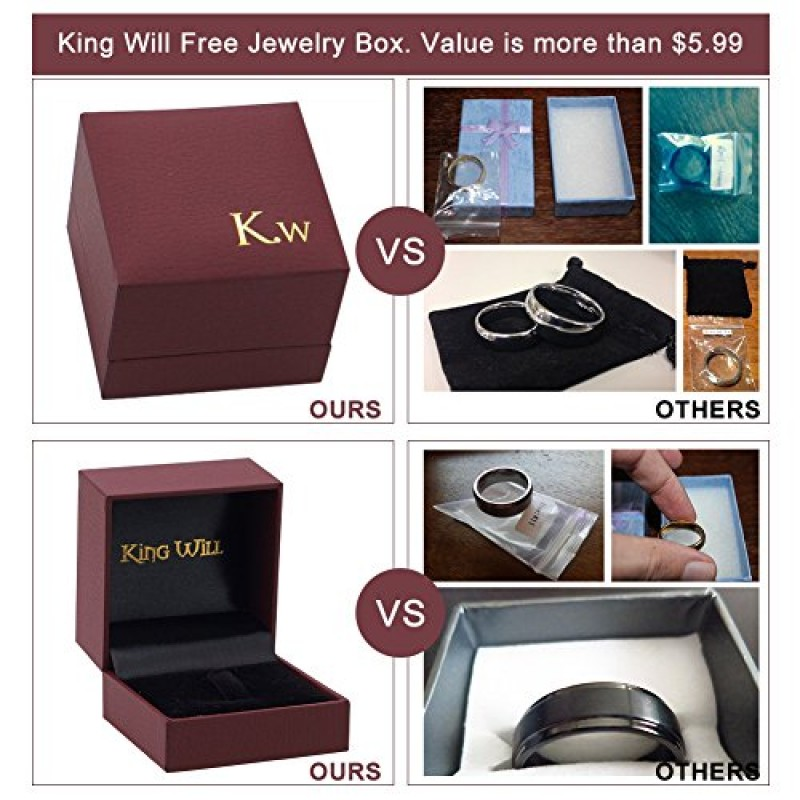 King Will GLORY 2mm Rose Gold Plated Polish Comfort Fit Domed Tungsten Carbide Ring Wedding Band (6)