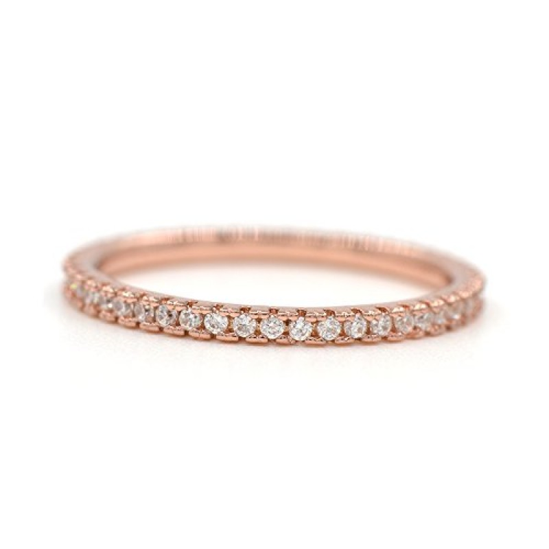 14K Rose Gold Thin Band Cubic Zirconia All-Around Infinity Band Wedding Ring Size 7