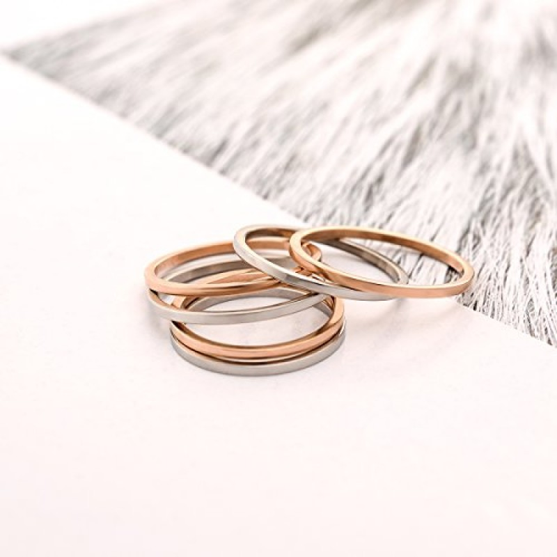 LOYALLOOK 1mm Stainless Steel Women's Plain Band Stacking Midi Rings Comfort Fit Wedding Band Ring (A:Flat 3pcs(white+gold+rose), 7)