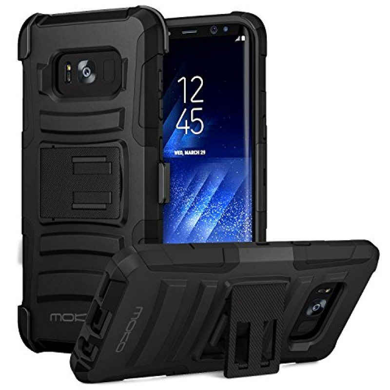 Galaxy S8 Case, MoKo Shock Absorbing Hard Cover Ultra Protective Heavy Duty Case with Holster Belt Clip + Built-in Kickstand for Samsung Galaxy S8 ...