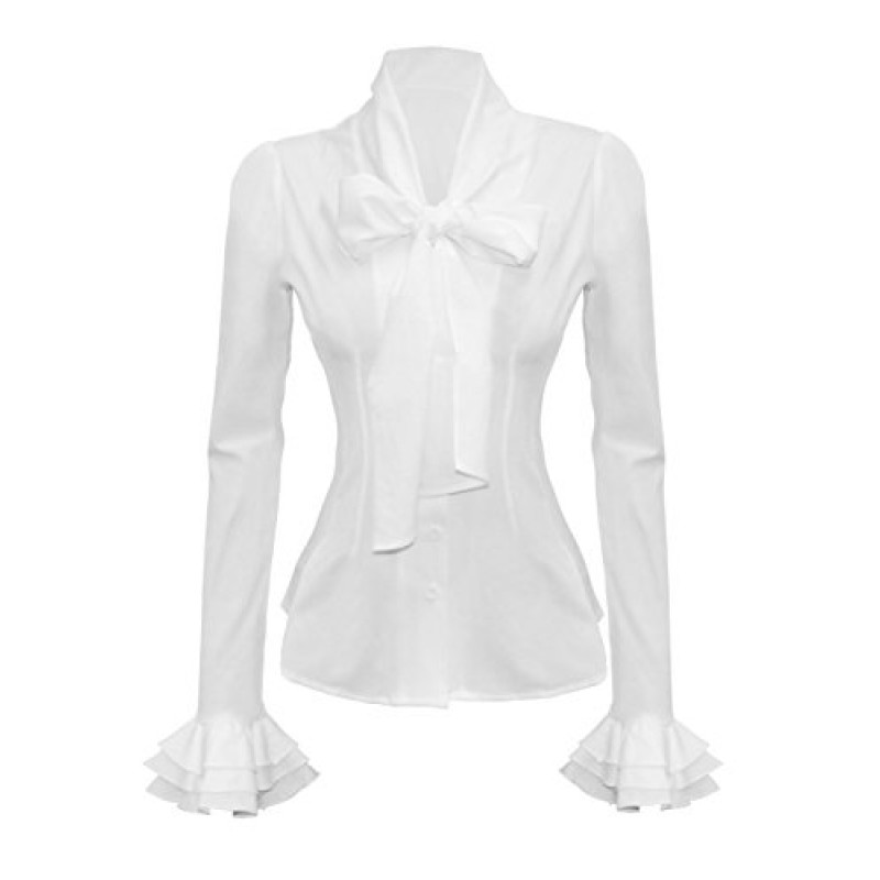 Mosocow Women's Vintage Bow Tie Neck Shirt Blouse Tops M White