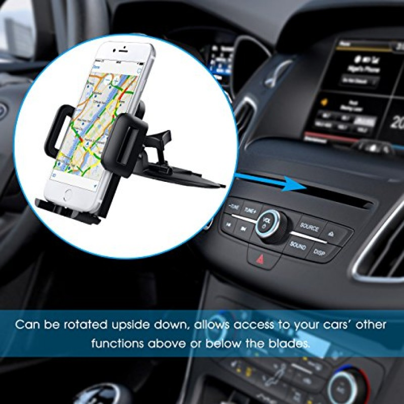 Mpow Car Phone Holder,CD Slot Car Phone Mount Universal Car Cradle Mount with Three-Side Grips and One-Touch Design for iPhone x/8/7/7P/6s/6P/5S, G...