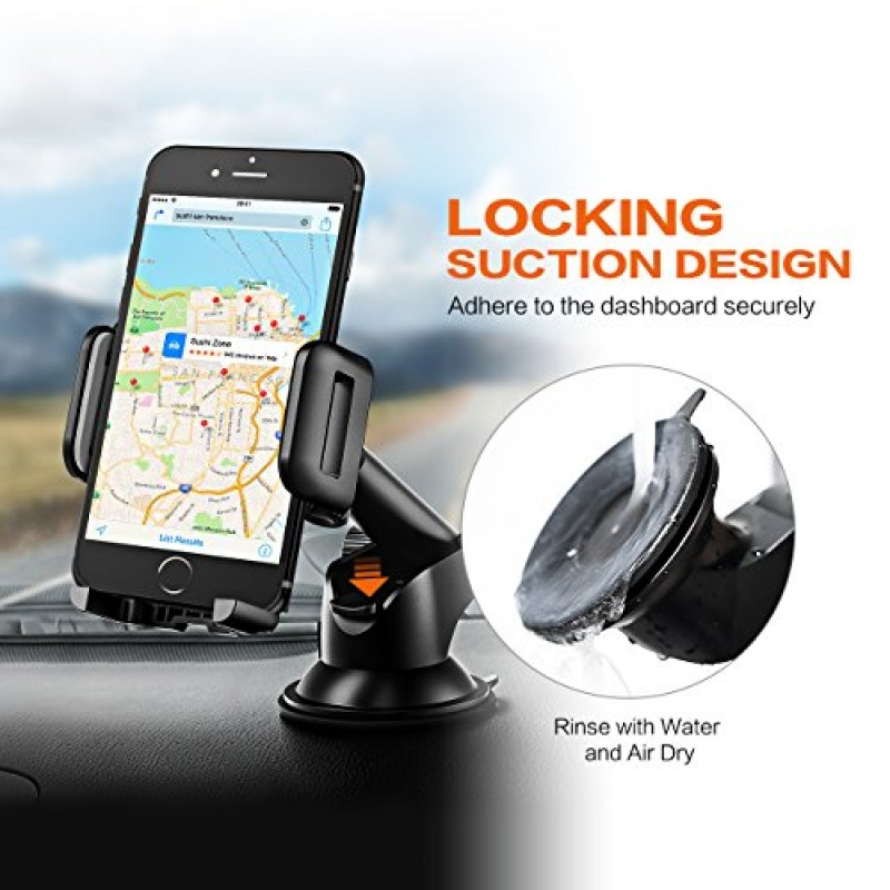 Mpow Car Phone Holder,Washable Strong Sticky Gel Pad with One-Touch Design Dashboard Car Phone Mount for iPhone x/8/7/7Plus/6s/6Plus/5S, Galaxy S5/...