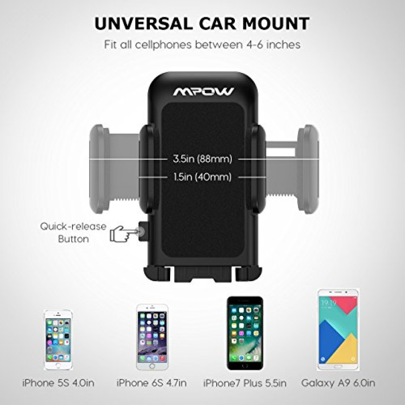 Mpow Cell Phone Holder for Car, Windshield Long Arm Car Mount with One Button Design and Anti-skid Base for iPhone X/8/7/7P/6s/6P/5S, Galaxy S5/S6/...
