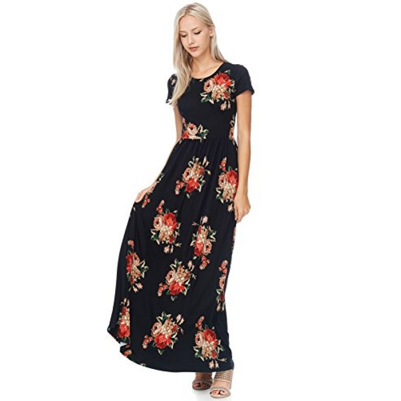 Floral Maxi Dress (large, Black Fall Floral)