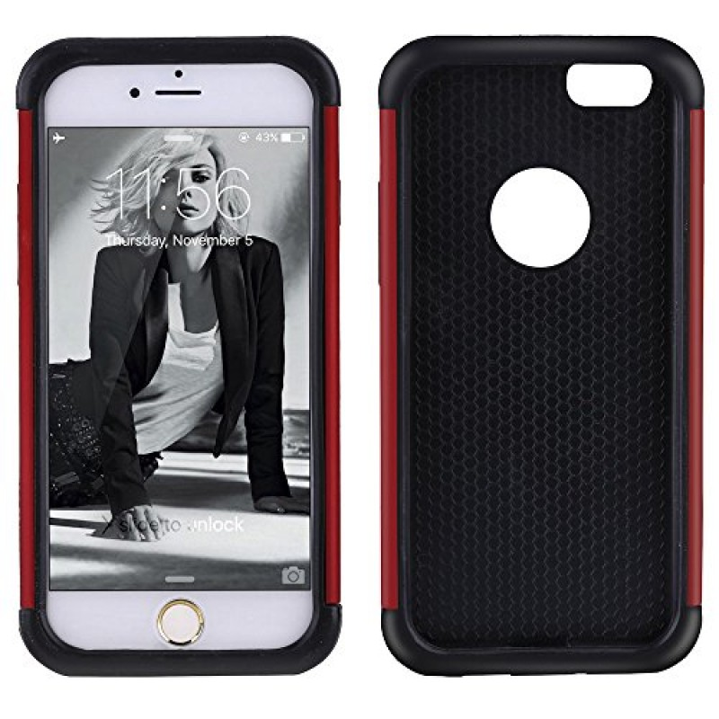 iPhone 6S Case, NOVT Shockproof Heavy Duty Mobile Phone Case iPhone 6 Cover Hybrid Dual Layer Hard PC with Soft Rubber Apple iPhone 6S Cover 4.7 In...