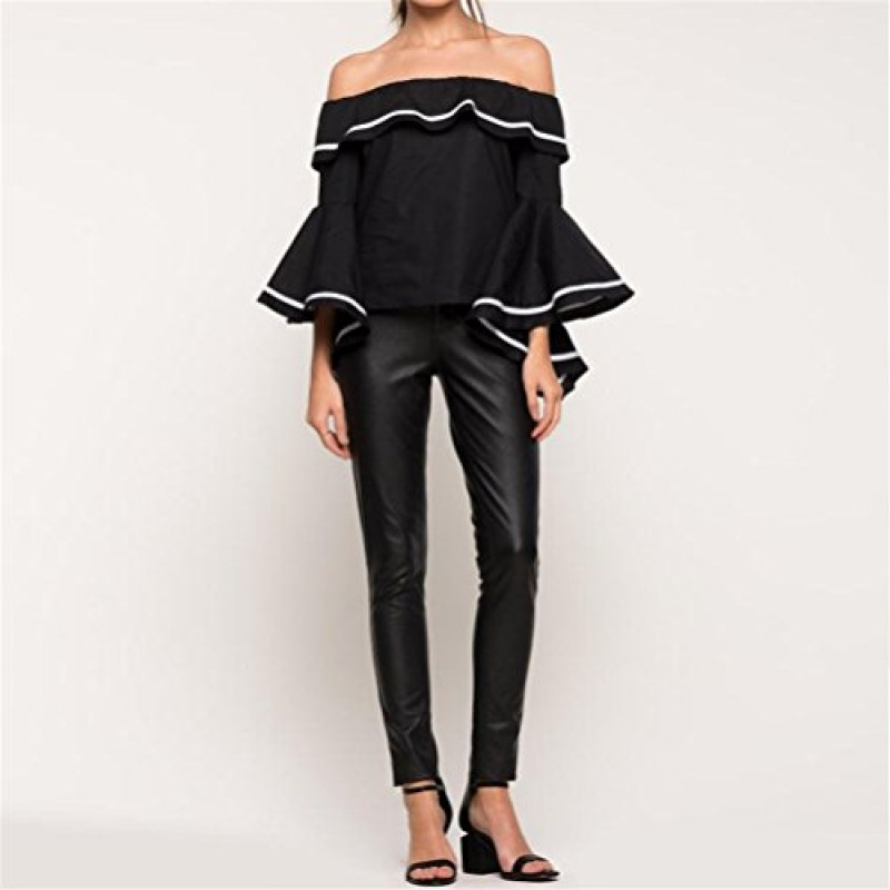 SIMSHION Women's Summer Off Shoulder Trumpet Sleeve Ruffled Collar Casual Blouse Loose Tops Shirts Black XL
