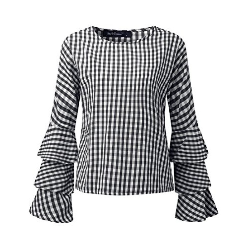 StyleDome Women's Elegant Flared Bell Ruffled Flounce Long Sleeve Blouses Casual Shirts Round Neck Tee Tops Black 2 US 12
