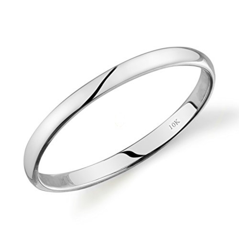 10k White Gold Light Comfort Fit 2mm Wedding Band Size 5