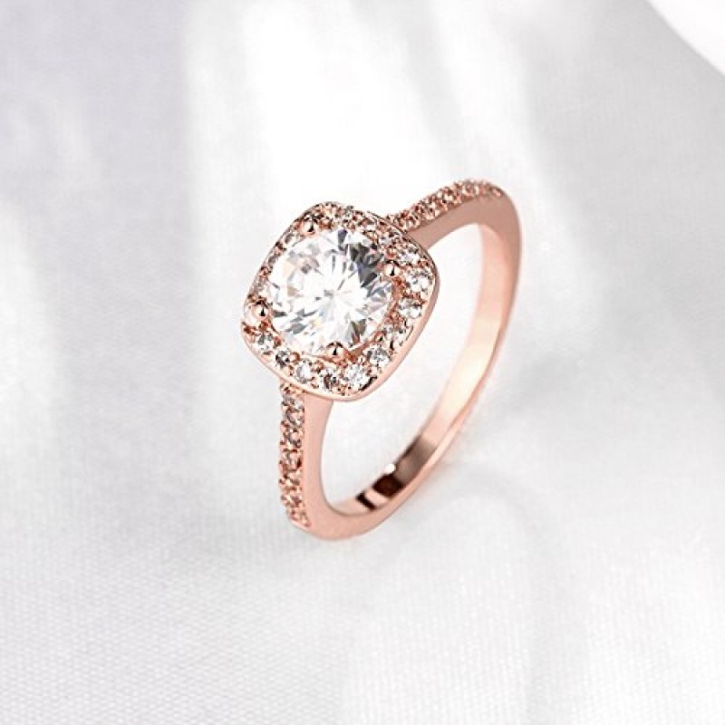 Women's Pretty 18K Rose Gold Plated Wedding Bands TIVANI Collection Jewelry Rings,7