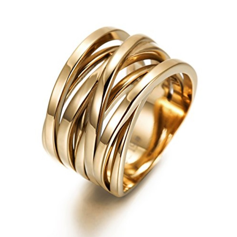 Wistic Jewelry 316 Stainless Steel Gold Plated Double X Band Ring Gift for Women and Girl (7)