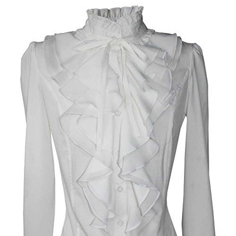 Shirts For Women Stand-Up Collar Vintage Victoria Ruffle Long Sleeve Y&Z BS02 (S, BS02-White)