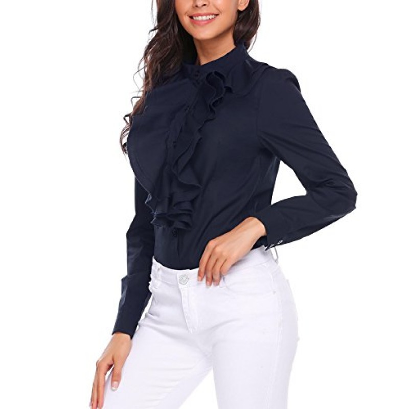 Zeagoo Women Stand-Up Collar Lotus Ruffle Shirts Blouse Navy Blue L
